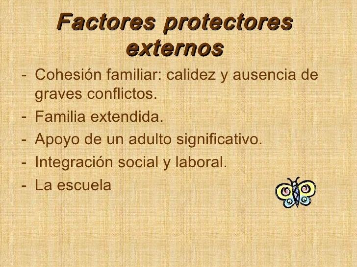 Factores protectores externos <ul><li>Cohesión familiar: calidez y ausencia de graves conflictos. </li></ul><ul><li>Famili...