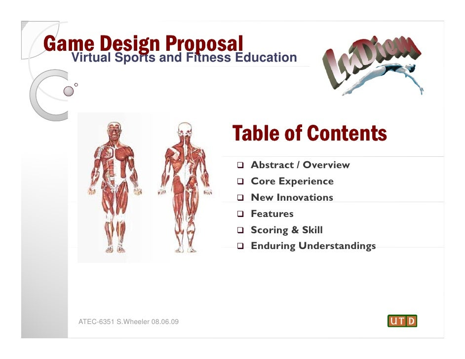 Game Designand Fitness Education  Virtual Sports                 Proposal                                   Table of Conte...