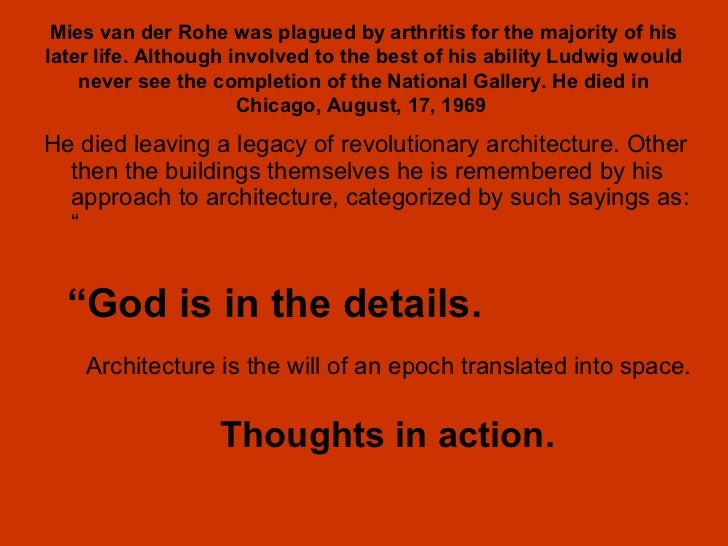 critical der essay mies rohe van In his remarkable essay mies van der rohe and the political  the early mies  design that has attracted the most critical attention in the current.