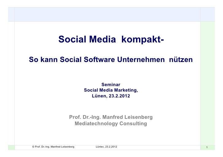 Social Media kompakt-So kann Social Software Unternehmen nützen                                              Seminar      ...