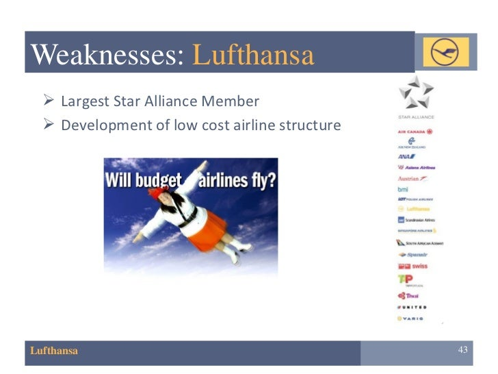 lufthansa swot Swot analysis of lufthansa airlines deutsche lufthansa ag, popularly known as lufthansa is the largest airline in europe in terms of both overall passengers carried and fleet size it is also the flag carrier of germany.