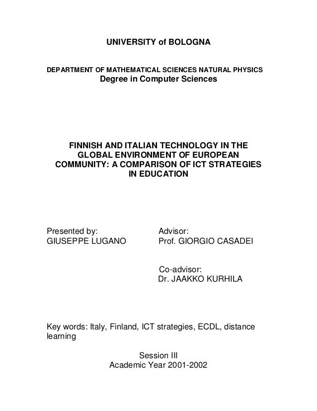UNIVERSITY of BOLOGNA DEPARTMENT OF MATHEMATICAL SCIENCES NATURAL PHYSICS Degree in Computer Sciences FINNISH AND ITALIAN ...