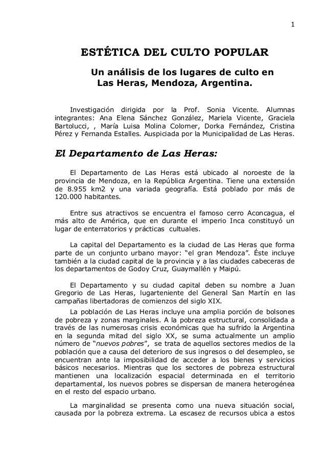 1        ESTÉTICA DEL CULTO POPULAR           Un análisis de los lugares de culto en            Las Heras, Mendoza, Argent...