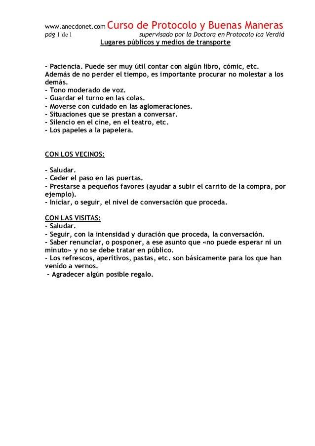 www.anecdonet.com Curso de Protocolo y Buenas Maneras p�g 1 de 1 supervisado por la Doctora en Protocolo Ica Verdi� Lugare...