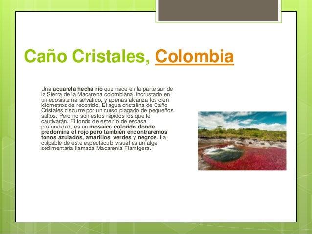 Caño Cristales, Colombia Una acuarela hecha río que nace en la parte sur de la Sierra de la Macarena colombiana, incrustad...