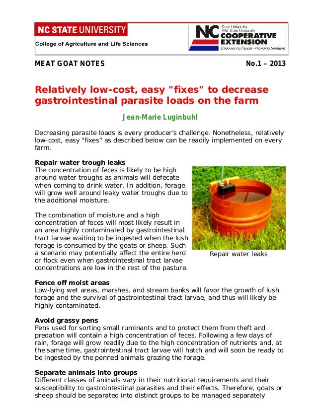 "MEAT GOAT NOTES  No.1 – 2013  Relatively low-cost, easy ""fixes"" to decrease gastrointestinal parasite loads on the farm Je..."