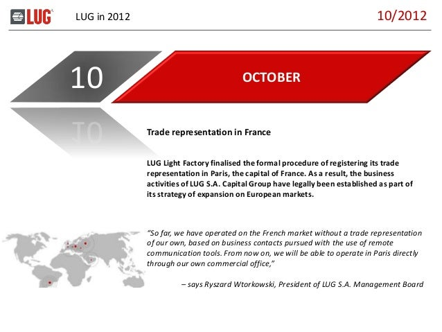 LUG in 2012 OCTOBER10 LUG Light Factory finalised the formal procedure of registering its trade representation in Paris, t...