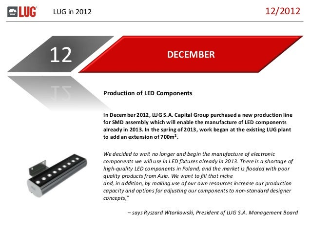 LUG in 2012 DECEMBER12 In December 2012, LUG S.A. Capital Group purchased a new production line for SMD assembly which wil...