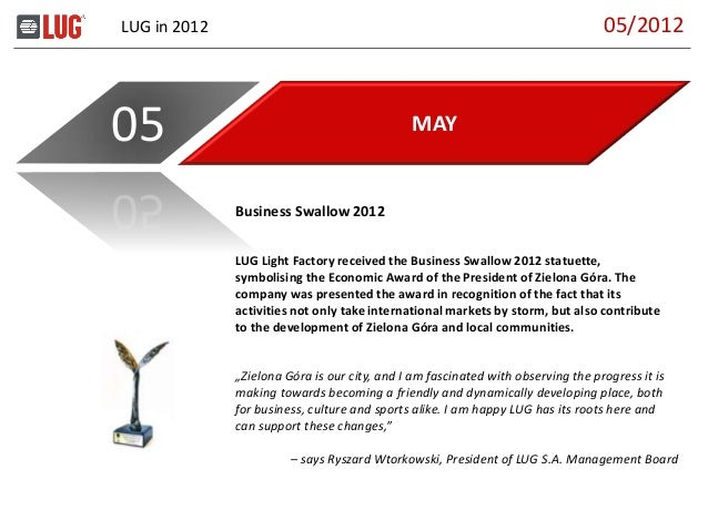 LUG in 2012 MAY05 LUG Light Factory received the Business Swallow 2012 statuette, symbolising the Economic Award of the Pr...