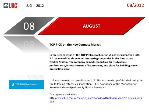 LUG in 2012 AUGUST08 In the second issue of the TOP PICK report, Infinity8 analysts identified LUG S.A. as one of the thre...