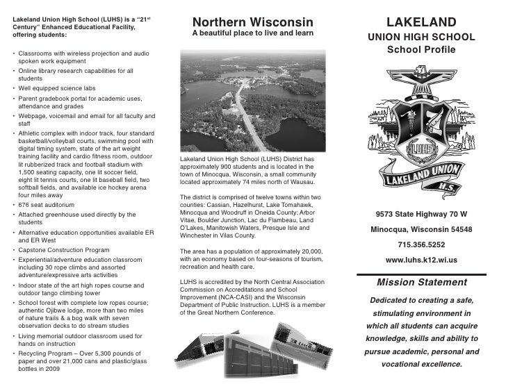 """Lakeland Union High School (LUHS) is a """"21stCentury"""" Enhanced Educational Facility,                        Northern Wiscon..."""