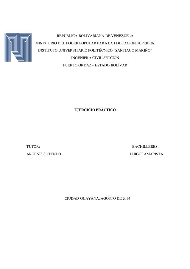 REPUBLICA BOLIVARIANA DE VENEZUELA MINISTERIO DEL PODER POPULAR PARA LA EDUCACIÓN SUPERIOR INSTITUTO UNIVERSITARIO POLITÉC...