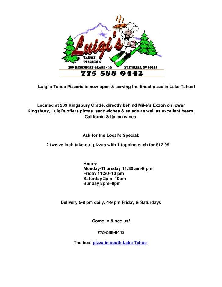 South Lake Tahoe Pizza Luigis Tahoe Pizzeria
