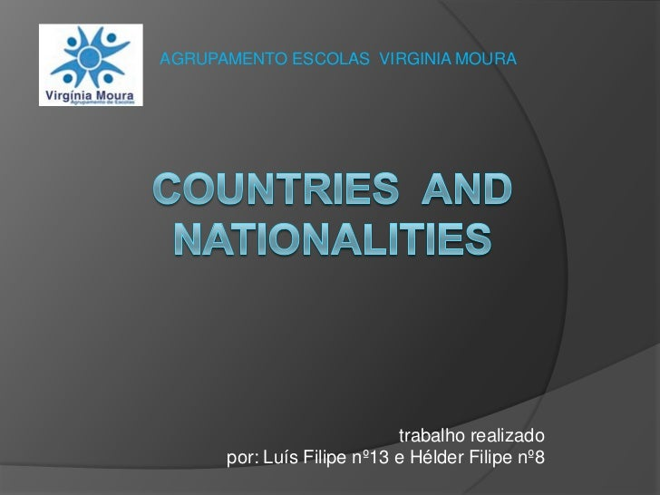 AGRUPAMENTO ESCOLAS  VIRGINIA MOURA <br />Countries  and Nationalities<br />                                             t...