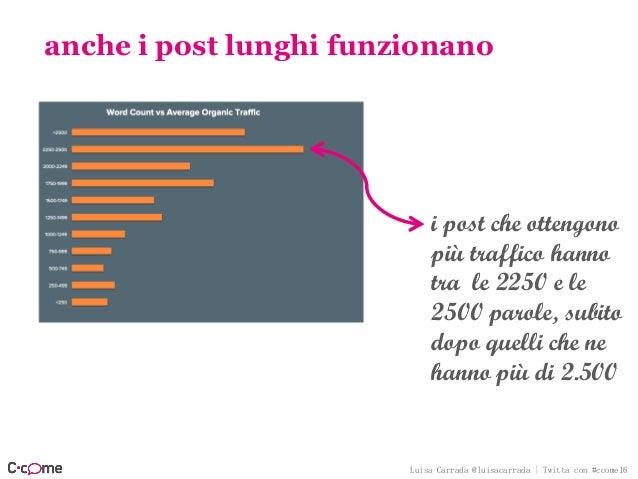 Luisa Carrada @luisacarrada | Twitta con #ccome16 anche i post lunghi funzionano i post che ottengono più traffico hanno t...