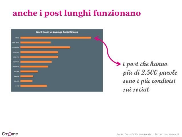 Luisa Carrada @luisacarrada | Twitta con #ccome16 anche i post lunghi funzionano i post che hanno più di 2.500 parole sono...