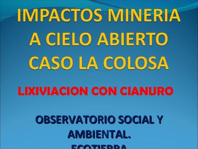 LIXIVIACION CON CIANURO OBSERVATORIO SOCIAL YOBSERVATORIO SOCIAL Y AMBIENTAL.AMBIENTAL.