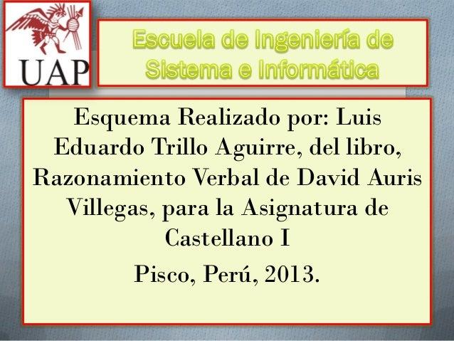 Esquema Realizado por: Luis Eduardo Trillo Aguirre, del libro, Razonamiento Verbal de David Auris Villegas, para la Asigna...