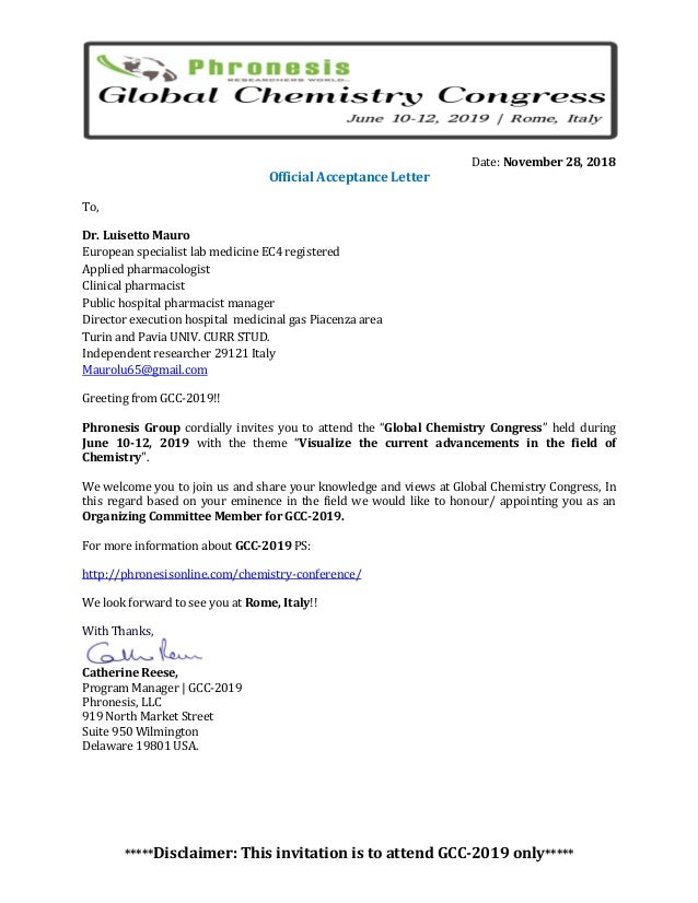 Luisetto mauro invitation letter global chemistry congress rome 2018 …