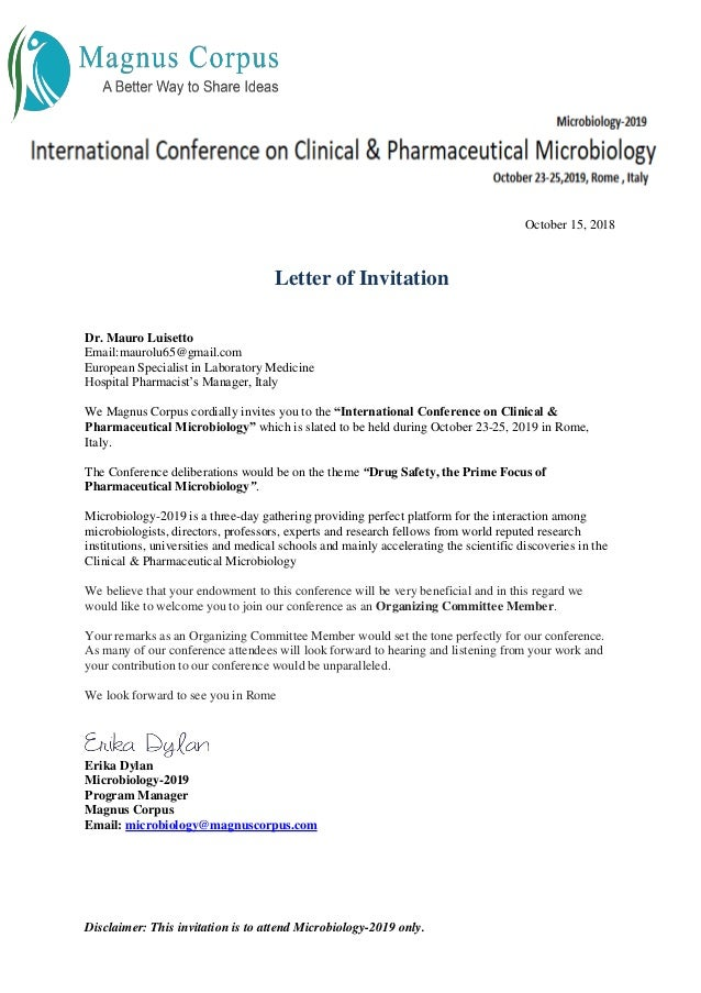 Luisetto m invitation letter international conference on clinical and…