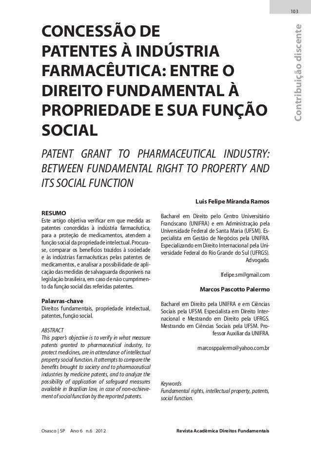 Revista Acadêmica Direitos FundamentaisOsasco | SP Ano 6 n.6 2012 103 Contribuiçãodiscente Luis Felipe Miranda Ramos Bacha...