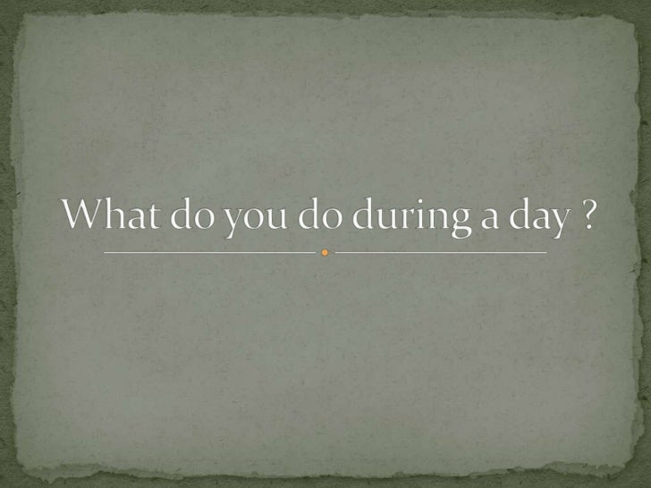 What do you do during a day ?<br />