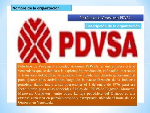Nombre de la organizaciónNombre de la organización Petróleos de Venezuela PDVSAPetróleos de Venezuela PDVSA Petróleos de V...