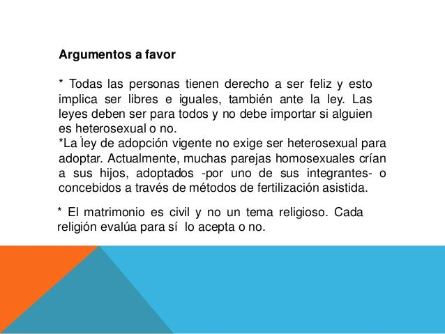 Debate del matrimonio homosexual a favor