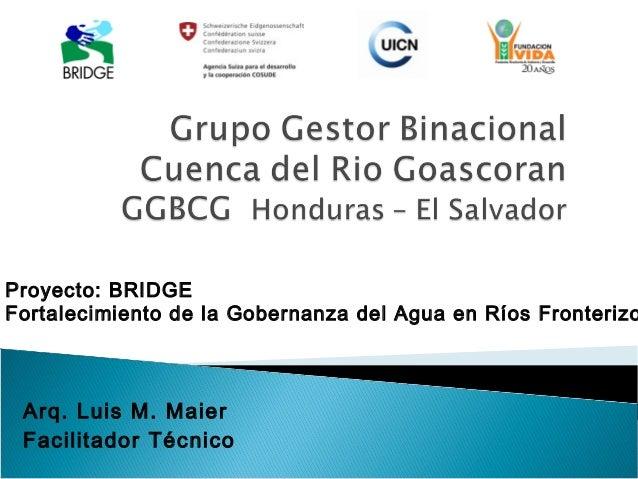 Proyecto: BRIDGEFortalecimiento de la Gobernanza del Agua en Ríos Fronterizo Arq. Luis M. Maier Facilitador Técnico