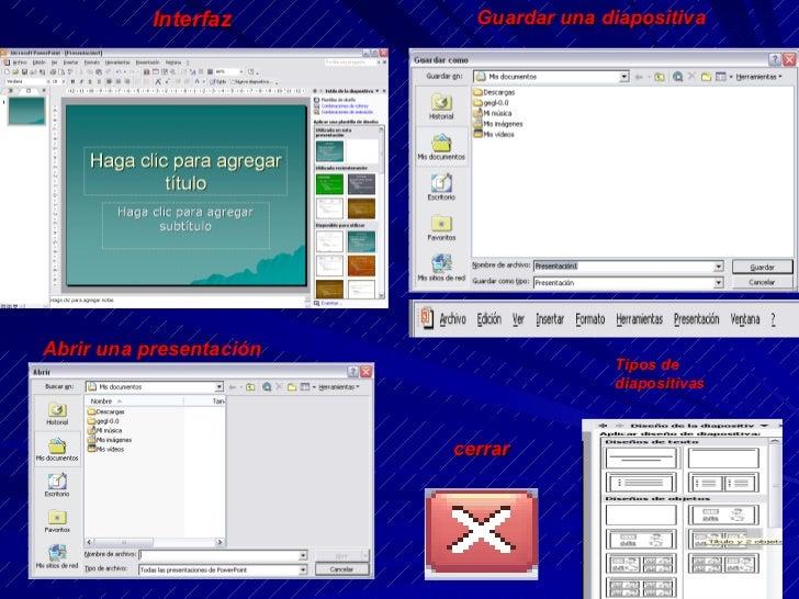 Interfaz Guardar una diapositiva Tipos de diapositivas Abrir una presentación cerrar