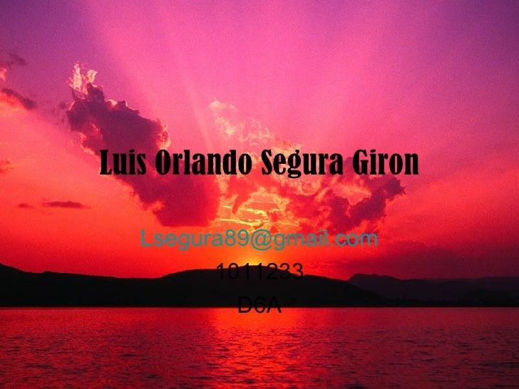 Luis Orlando Segura Giron [email_address] 1011233 D6A
