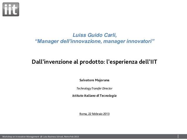 """Luiss Guido Carli,                              """"Manager dell'innovazione, manager innovatori""""                           D..."""