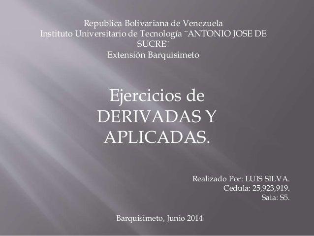 Republica Bolivariana de Venezuela Instituto Universitario de Tecnología ¨ANTONIO JOSE DE SUCRE¨ Extensión Barquisimeto Ej...