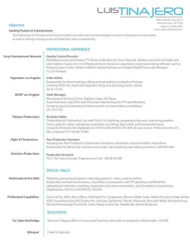 Photoshop Editor Resume Sample Video Editor Resume Template And . Video Editor  Resumes. Luis Tinajeros Resume 2013 .