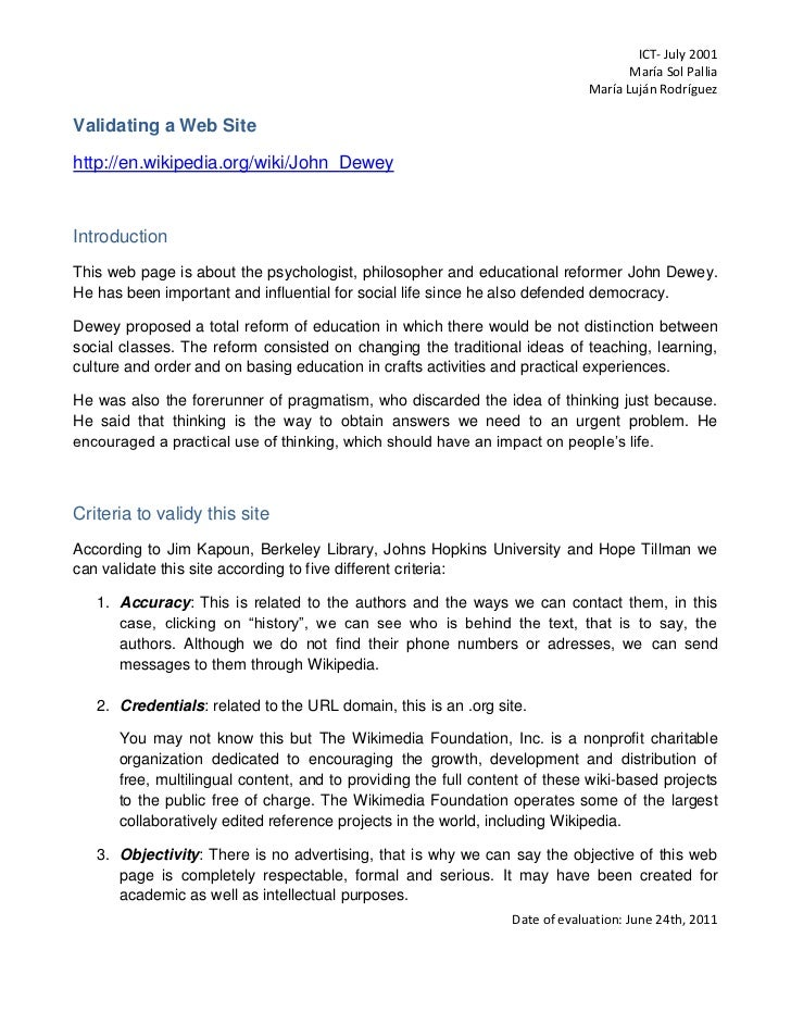 Validating a Web Site<br />http://en.wikipedia.org/wiki/John_Dewey<br />Introduction<br />This web page is about the psych...