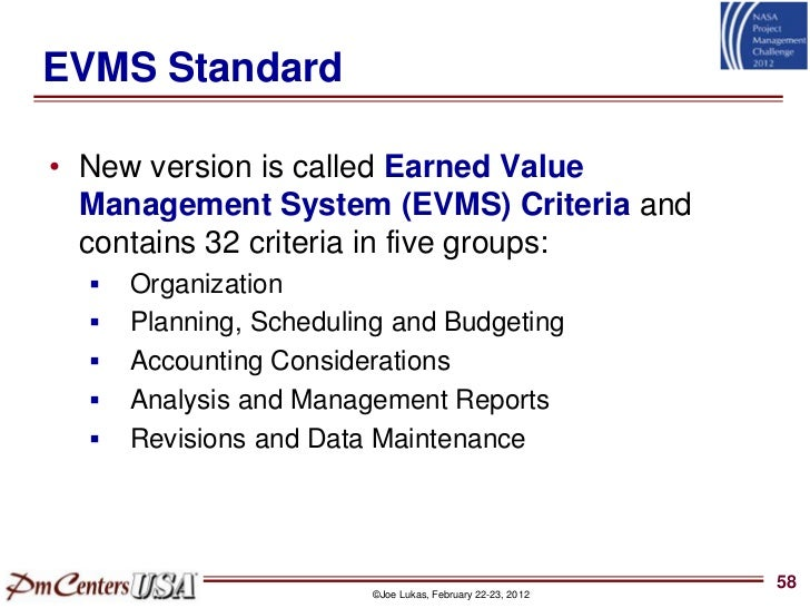 "evms ndia What it means to be ""ansi‐compliant"" • ansi/eia‐748(b) standard – spearheaded by ndia program."