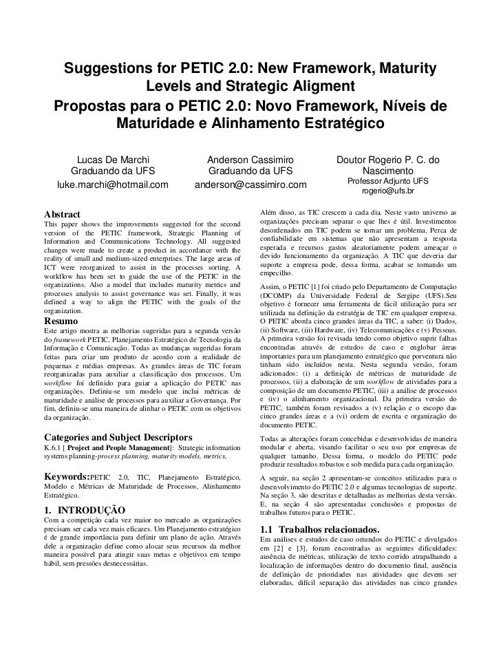 Suggestions for PETIC 2.0: New Framework, Maturity               Levels and Strategic Aligment   Propostas para o PETIC 2....