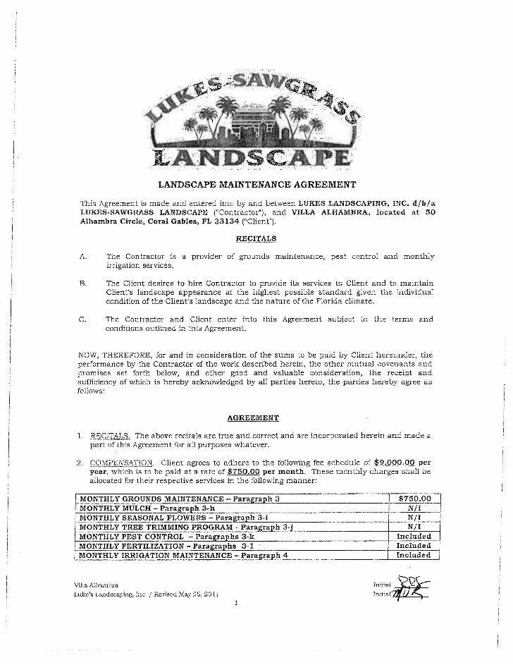 Lukes Sawgrass Landscaping Maintenance Contract - Villa Alhambra