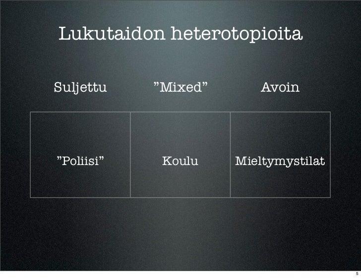 """Lukutaidon heterotopioitaSuljettu    """"Mixed""""       Avoin""""Poliisi""""    Koulu    Mieltymystilat                              ..."""