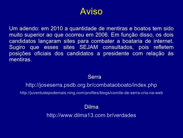 Breve comparação entre Lula, FHC, Dilma e Serra Slide 3