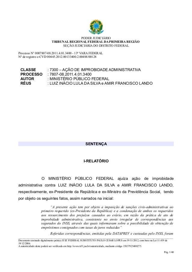 PODER JUDICIÁRIO                          TRIBUNAL REGIONAL FEDERAL DA PRIMEIRA REGIÃO                                SEÇÃ...