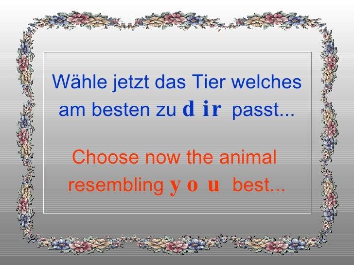 Wähle jetzt das Tier welches am besten zu  dir  passt... Choose now the animal  resembling  you  best...