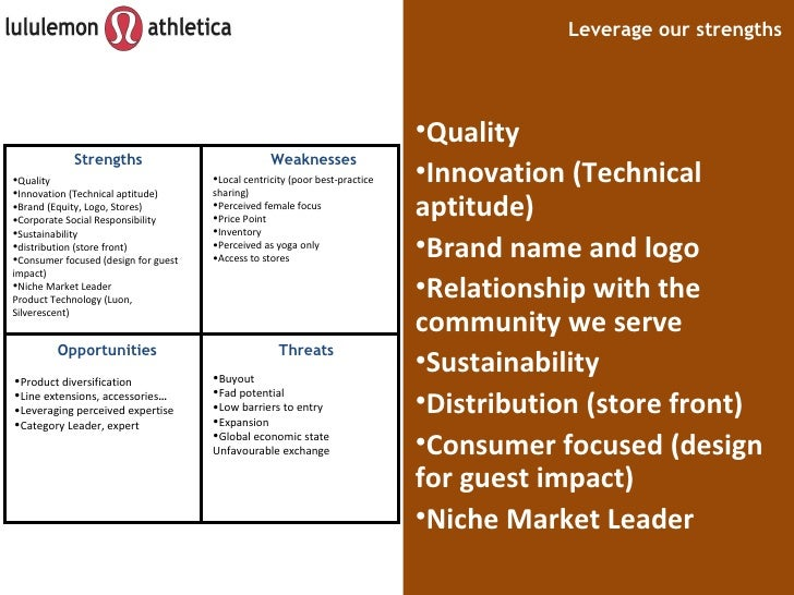 lululemon swot analysis Kailey schaneberg ba 49701 lululemon athletica inc  the internal analysis  consists of a swot analysis, core competence map and.