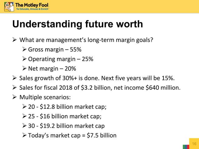  What are management's long-term margin goals? Gross margin – 55% Operating margin – 25% Net margin – 20%  Sales grow...