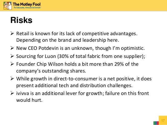  Retail is known for its lack of competitive advantages. Depending on the brand and leadership here.  New CEO Potdevin i...