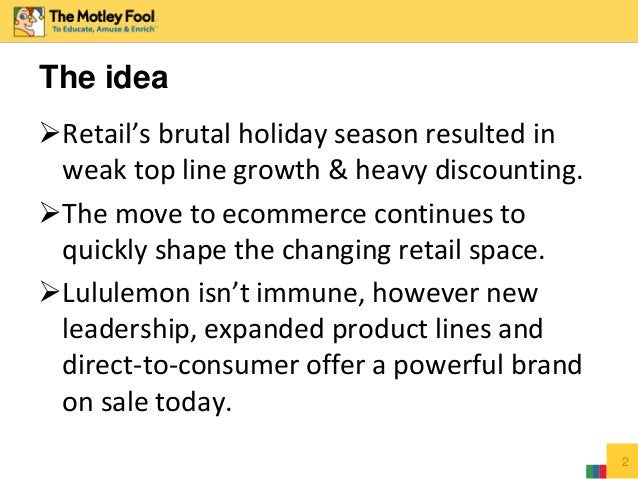 Retail's brutal holiday season resulted in weak top line growth & heavy discounting. The move to ecommerce continues to ...