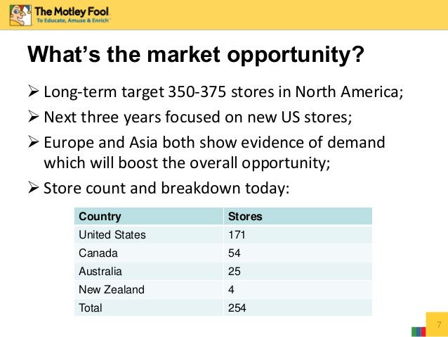 7 What's the market opportunity?  Long-term target 350-375 stores in North America;  Next three years focused on new US ...