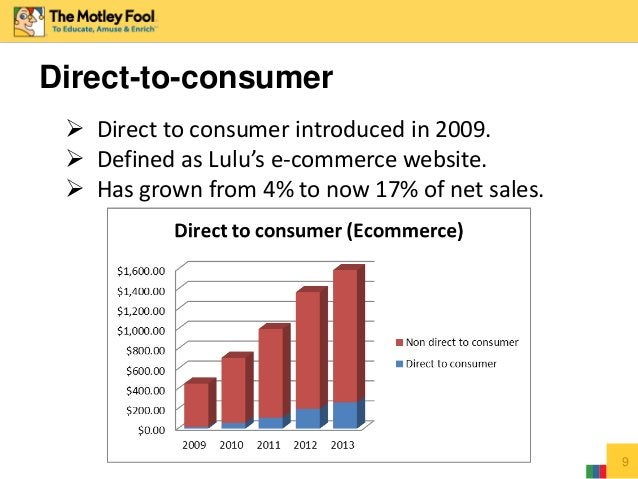 Direct-to-consumer 9  Direct to consumer introduced in 2009.  Defined as Lulu's e-commerce website.  Has grown from 4% ...