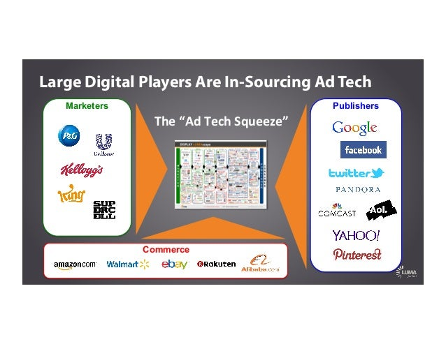 """Marketers The  """"Ad  Tech  Squeeze""""   Publishers Commerce Large Digital Players Are In-Sourcing Ad Tech"""