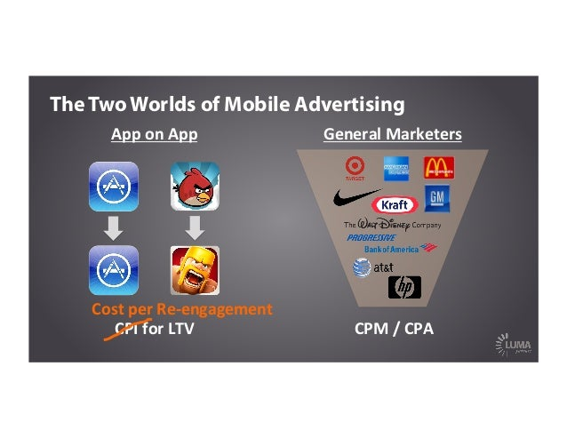 CPI  for  LTV   App  on  App   The Two Worlds of Mobile Advertising Cost  per  Re-‐engagement   CPM  ...